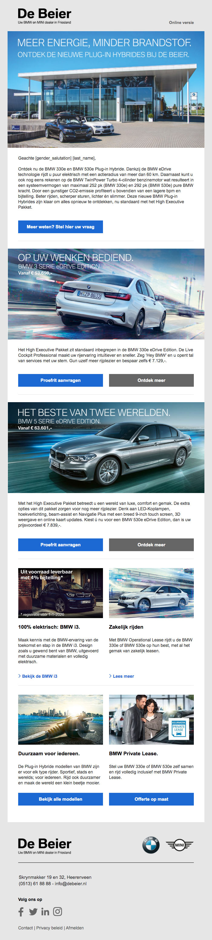Verzorgde BMW en MINI mailing in Websolve